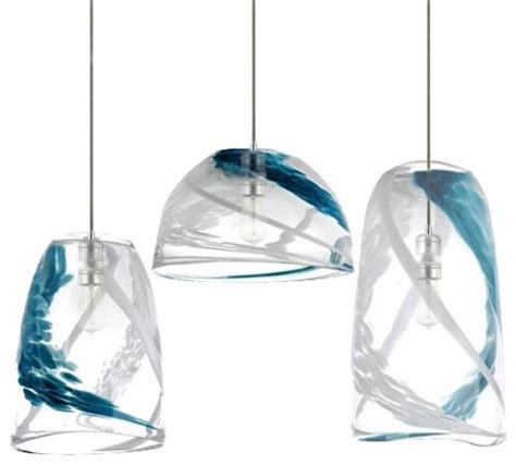 pendant lighting ideas green blue glass pendant