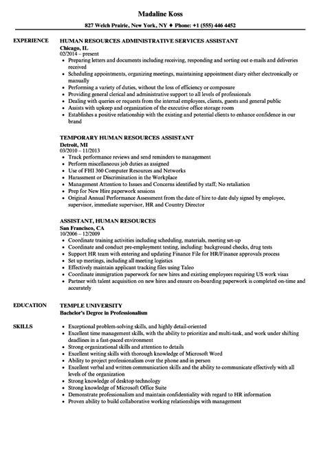assistant human resources resume samples velvet jobs