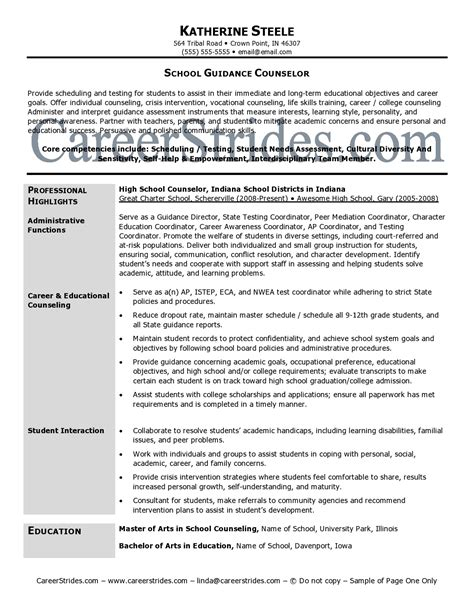 school guidance counselor resume exle resume sles exles