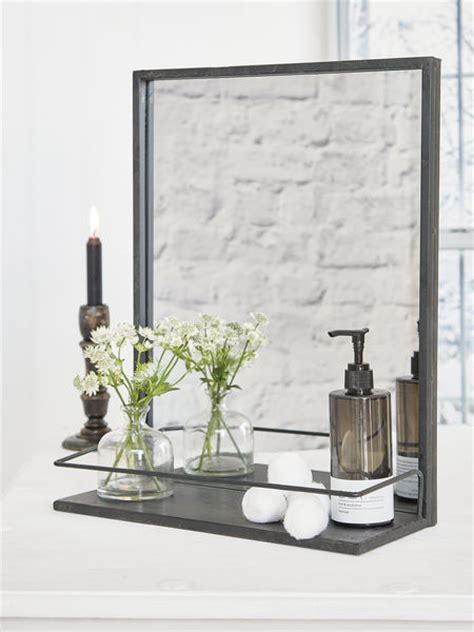 Bedroom Mirrors With Shelf by Distressed Metal Shelf Mirror