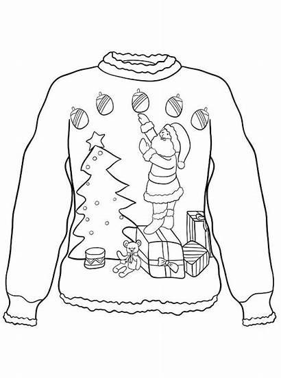 Foute Kerst Kersttrui Ugly Sweater Kleurplaten Kleurplaat