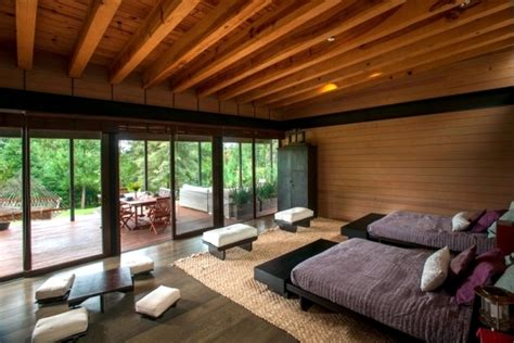 flat roof modern wooden house   mexican forest