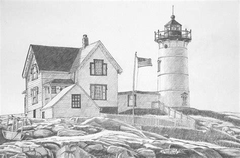 cape neddick light house drawing drawing  dominic white