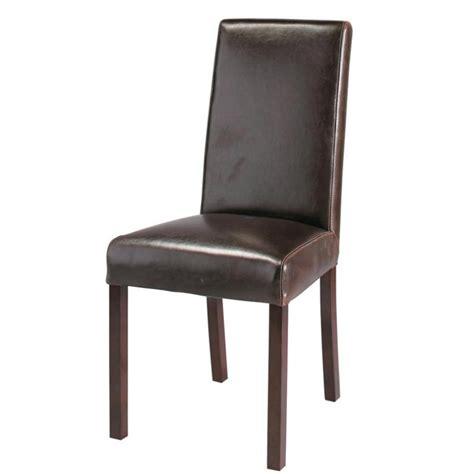chaise en cuir et bois marron harvard maisons du monde