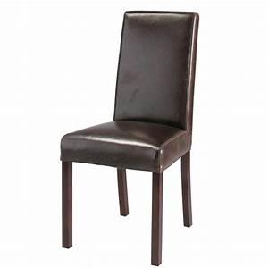 chaise en cuir et bois marron harvard maisons du monde With deco cuisine avec chaises cuir marron salle manger