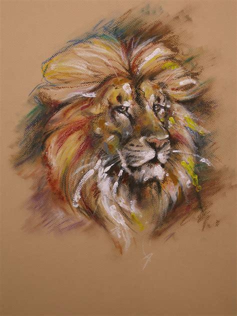 Lion Oil Pastel Drawings