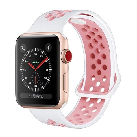 Hailan Sports Band for Apple Watch (White Pink) [42mm M/L ...