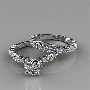 shared prong engagement ring and wedding band set With ring and wedding band