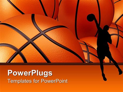 basketball template powerpoint template basketball player shadow against basketballs background 2904