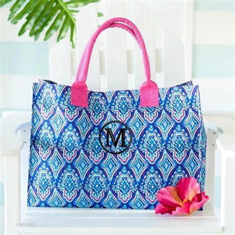 personalized boho ikat hydrangea tote bag gifts happen