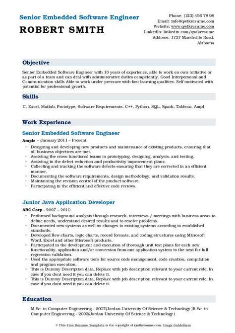 embedded software engineer resume samples qwikresume