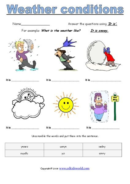 weather conditions worksheet  st  grade lesson
