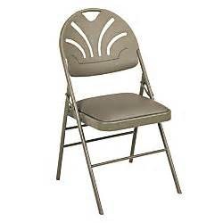samsonite vinyl padded oversized folding chairs 36 12 h x 19 12 w x 22 34 d taupe pack of 4 by