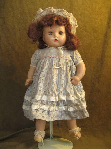 horsman composition doll  brown mohair original dress