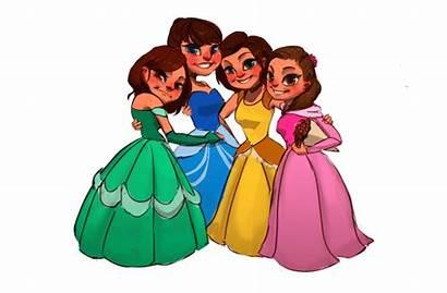 Cartoon Princess Friends Four Princesses Artcorgi Portrait