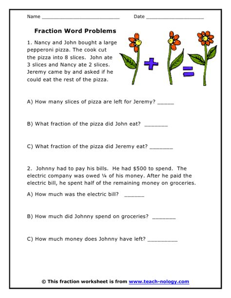 fractions worksheets word problems breadandhearth