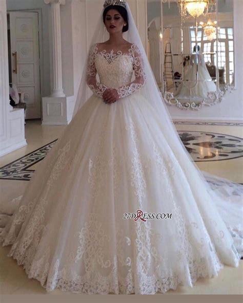 Glamorous Bateau Long Sleeves Wedding Dress Lace