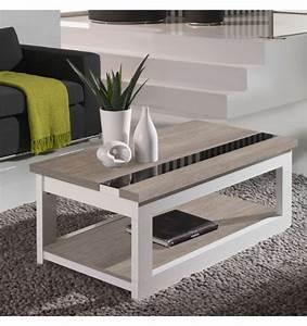 Table Chene Blanchi : table basse relevable plateau ch ne blanchi et pied blanc mobilier ~ Teatrodelosmanantiales.com Idées de Décoration