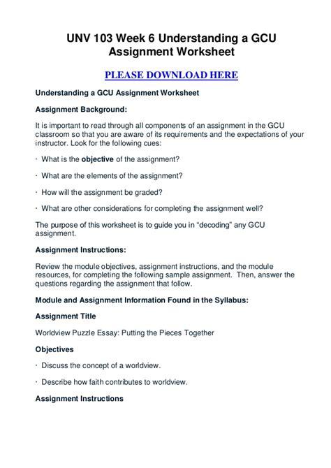unv  week  understanding  gcu assignment worksheet