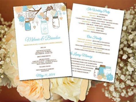 diy wedding program fans template diy wedding fan program template mason jar wedding fan