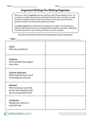 Persuasive Essay Prewriting Worksheet by Argument Writing Pre Writing Organizer Education
