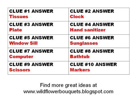 scavenger hunt clues wildflower bouquets enjoy simple pleasures katrena s indoor scavenger hunt 3 free clues