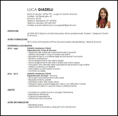 scaffalista supermercato modello curriculum vitae addetto assistenza clienti per