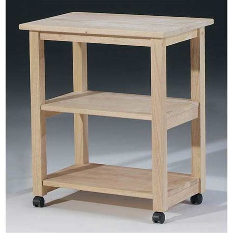 International Concepts Unfinished Wood Microwave Cart
