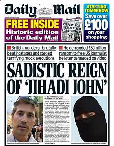 "Friday's daily mail front page - ""sadistic reign of ..."