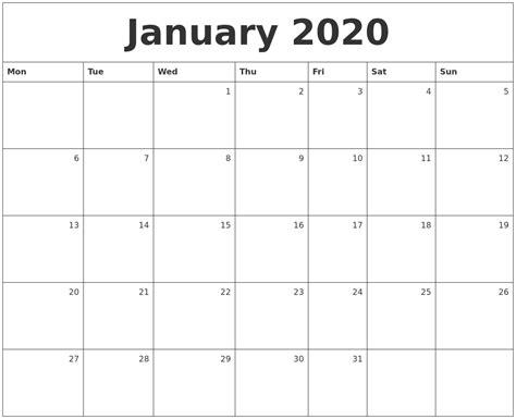 january monthly calendar