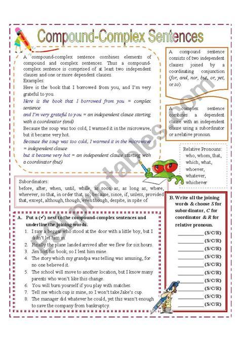 compound complex sentences esl worksheet  missola