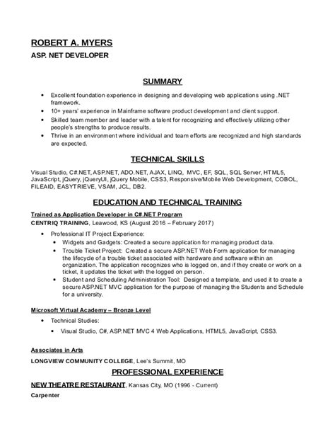 Asp Resume For 2 Years Experience by Asp Net Developer Resume Sql Developer Resume 1 Years Experience Bestsellerbookdb Robert Myers