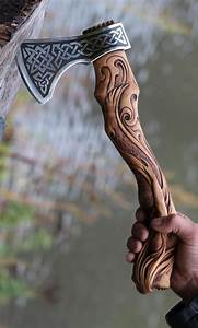 Hand Forged Hand Carved Viking Axe  U2013 Carved Handle Mermaid