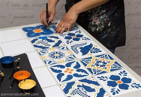 Before and After   How To Stencil A Mexican Talavera Tile
