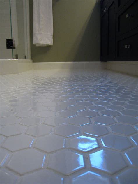 How To Clean Floor Grout In Bathroom by White Hex Tile Bathroom Floor Keep The White Grout Clean