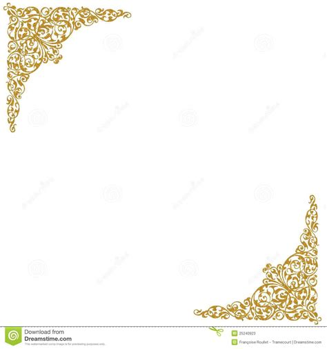 wedding scroll invitations gold decorative corners stock photos image 25240923