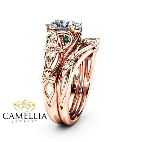 moissanite shamrock celtic knot engagement ring 14k rose gold mois camellia jewelry