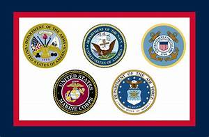 A flag to represent all 5 branches of the US Military ...