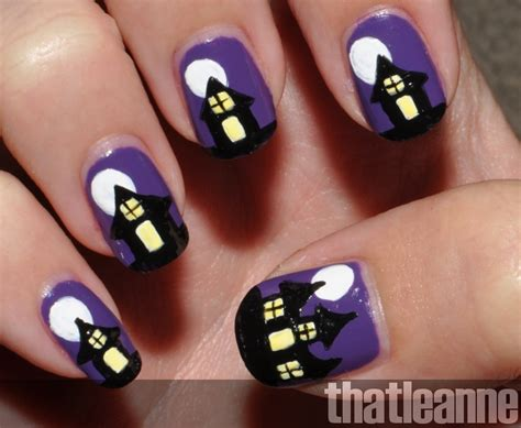 Spooky Haunted House Nail Art For Halloween