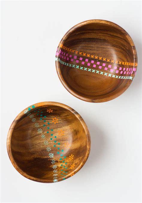 thrifty painted wood bowls diyideacentercom