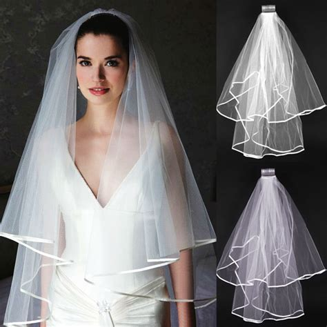 2t Whiteivory Wedding Bridal Veil Satin Edge Comb Elbow