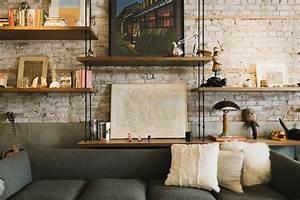 salon deco vintage avec mur de briques With deco mur brique salon