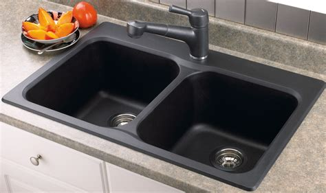 Cream Porcelain Undermount Kitchen Sinks With Double Black Sink Placed On The Brown Wooden