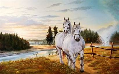 Horse Painting Paint Wallpapers Horses Paintings Couple