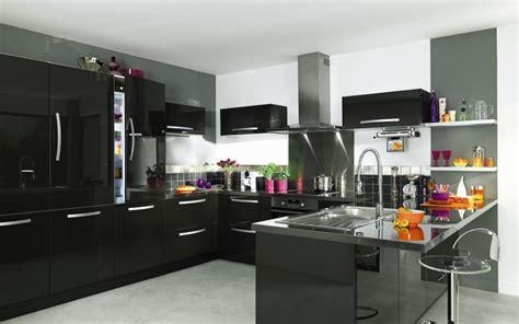 cuisine laque noir meuble cuisine noir laque