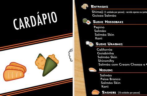 cuisine collective cardápios feng sushi portfolio evelise chagas