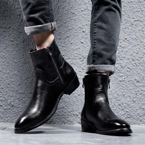 Masorini Genuine Leather Cowhide Winter Boots Men High