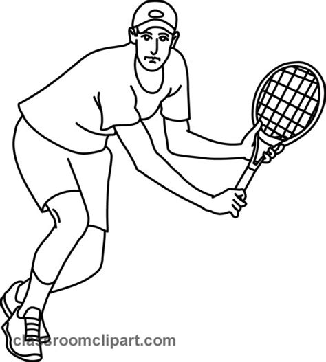 tennis player clipart black and white sports tennis forehand 05 outline classroom clipart