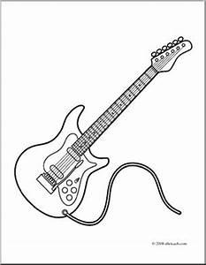 Clip art electric guitar coloring page i abcteachcom for Guitar parts
