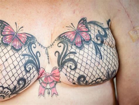 breast cancer survivor linda bright  topless  reveal bra tattoo